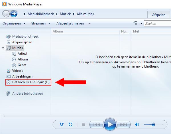 Windows Media Player audio cd