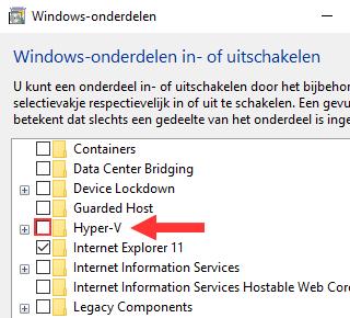 Windows-onderdelen Hyper-V