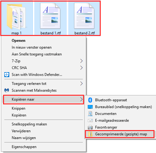 Zip bestand maken in Windows